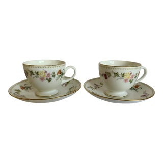 Wedgwood China Mirabelle Pattern Cup and Saucer Set - 4 Pieces For Sale