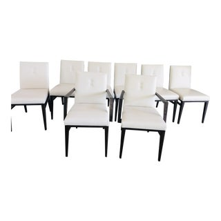Modern Wood Back Leather Chairs Imported From Italy - Set of 8 For Sale