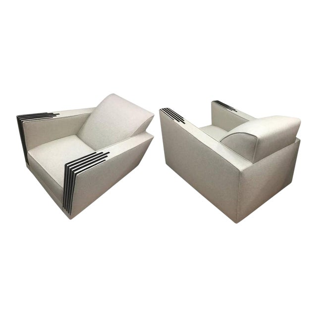 Roux Spitz Awesome Spectacular Rare Long Pair of Lounge Chairs For Sale