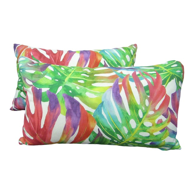 Contemporary Monstera Leaf Print Norbar Fabric Lumbar Pillows - a Pair For Sale