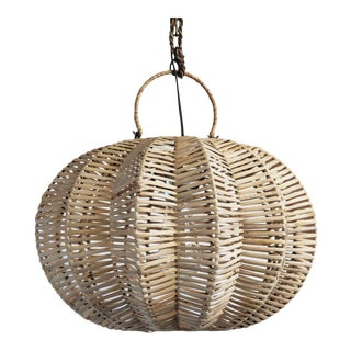 Split Raw Rattan Pumpkin Lantern 16""