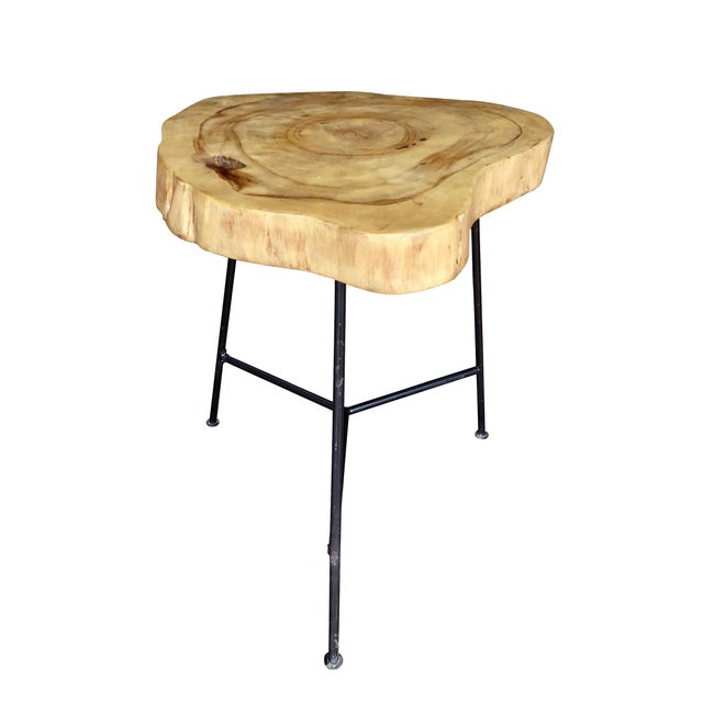 Rustic Rustic Live Edge Pine Slab End Table For Sale - Image 3 of 13