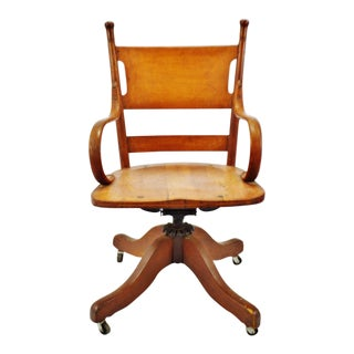 Antique Heywood Bros. & Wakefield Co. Bankers Desk Chair For Sale