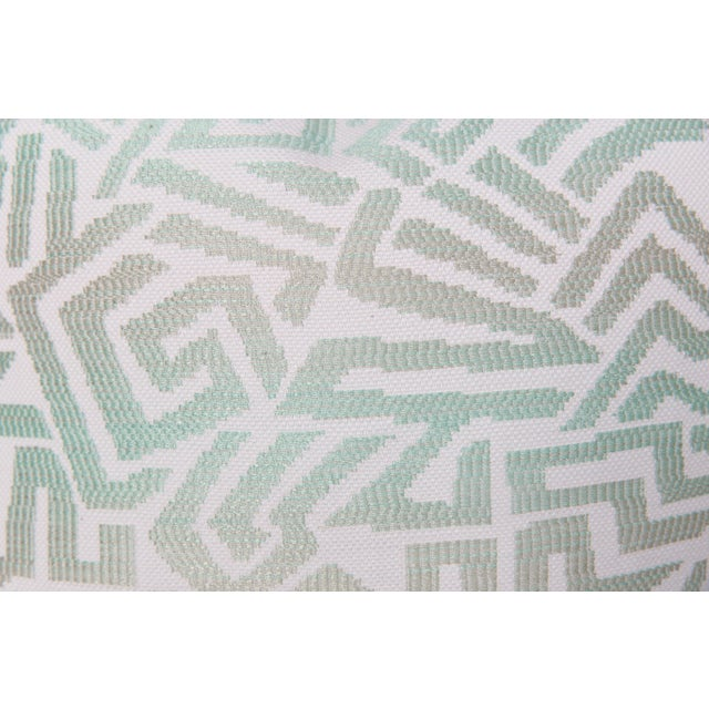 Tribal Tribal Seafoam Geometric Pillows, a Pair For Sale - Image 3 of 5
