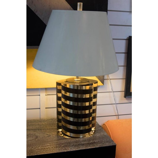 Black and Gold Striped Lucite Lamp For Sale In Los Angeles - Image 6 of 6