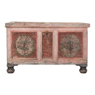 19th Century Austrian Painted Oak Trunk For Sale