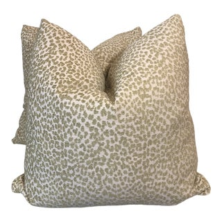 "Celery Cheetah Print Jacquard 23"" Pillows-A Pair For Sale"