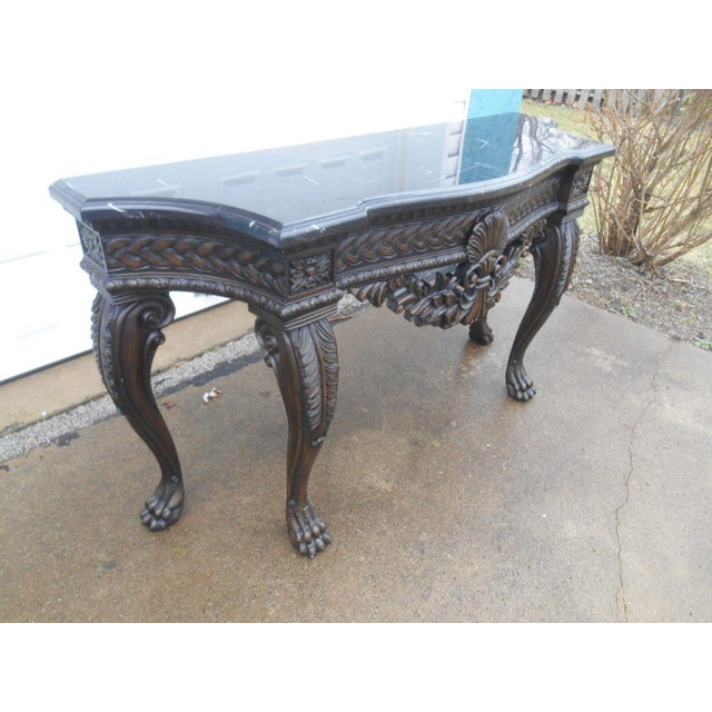French Rococo Style Carved Wood & Marble Top Console Table - Image 4 of 8