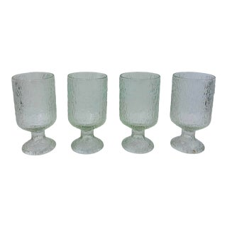 Vintage Mid-Century Glass Goblet Tumblers - Set of 4 For Sale