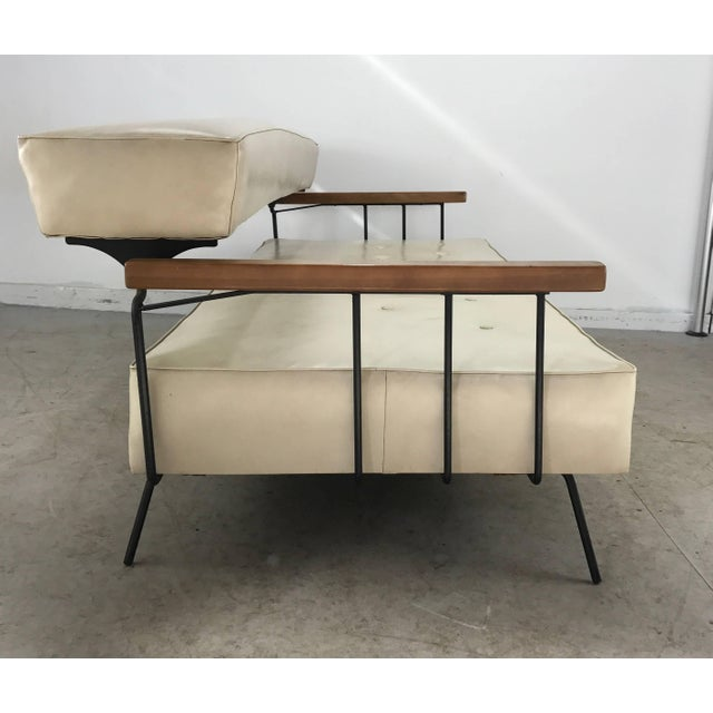Mid-Century Modern Classic Modernist Iron and Wood Sofa/Daybed in the Manner of Weinberg-Salterini For Sale - Image 3 of 10