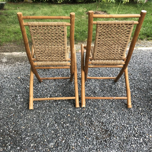 Hans Wegner Mid-Century Modern Hans Wagner Style Bamboo Rope Folding Lounge Chairs - a Pair For Sale - Image 4 of 13