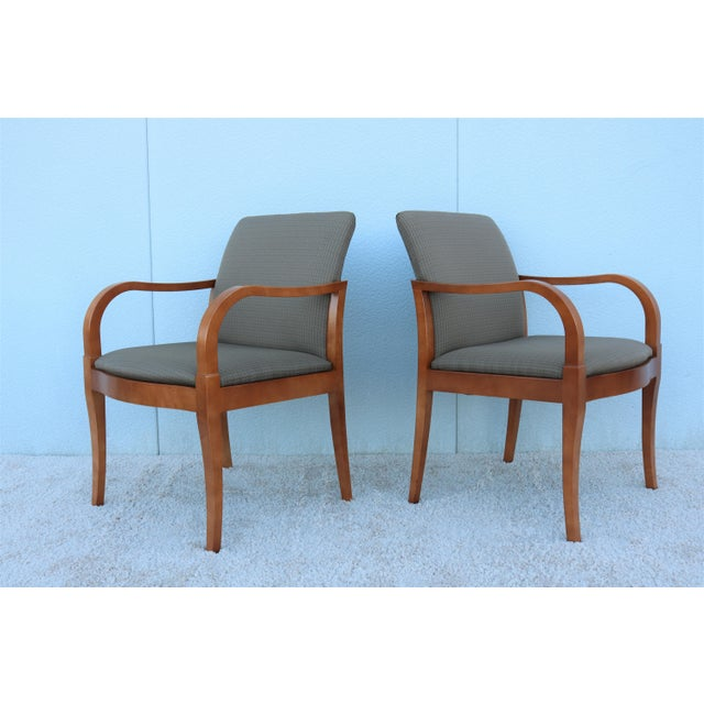 Fabric 19th Century Scandinavian Modern Gunlocke Guest Dining Arm Chairs - Set of 4 For Sale - Image 7 of 13