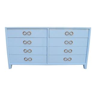 Modern High Gloss Light Blue Lowboy Dresser For Sale