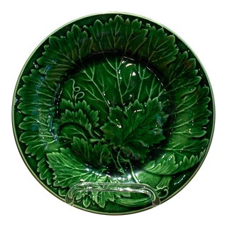 Majolica Geranium Leaf Plate, England Circa 19th Century For Sale