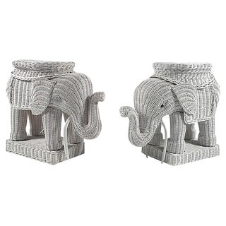 Wicker Elephant Side Tables - A Pair