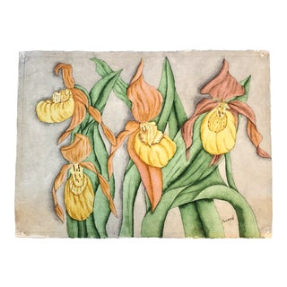 Original Vintage Still Life Painting With Irises Signed For Sale