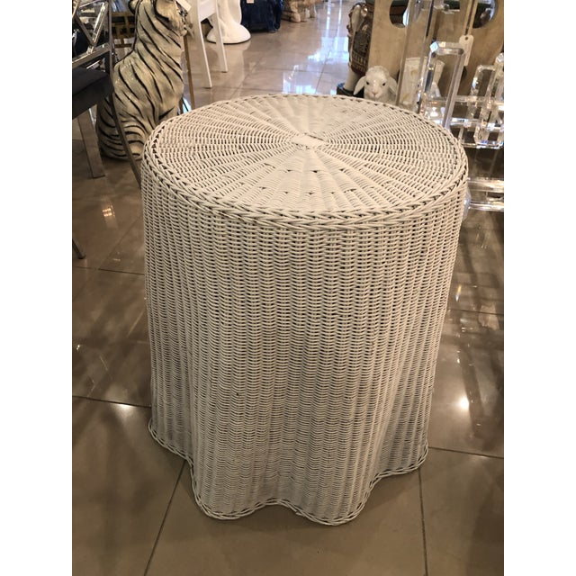 Lovely vintage draped wicker rattan end side table. The price includes your choice of lacquer color matched to a Benjamin...