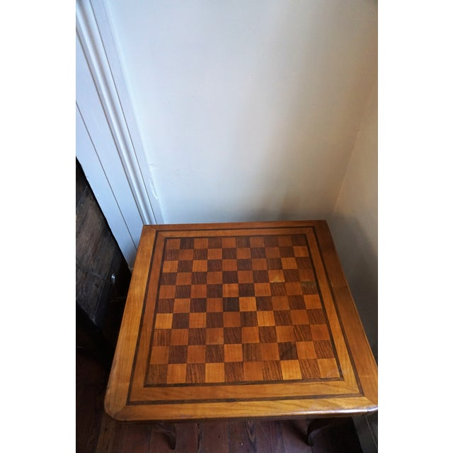 19th Century French Walnut Game Table with Inlaid Marquetry and Cabriole Legs. The top will unfold and swivel to play...