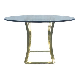 Vintage 1980s Brass & Glass Dining Table For Sale