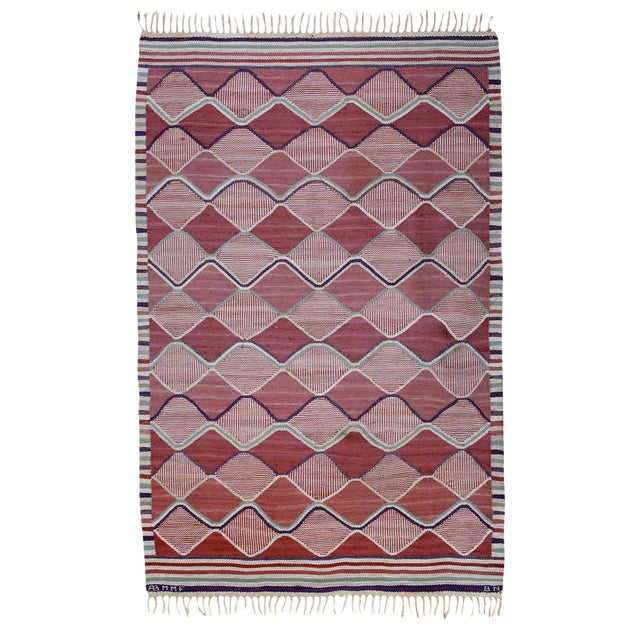 Vintage Barbro Nilsson Flat-Weave Swedish Carpet for Marta Maas-Fjetterström For Sale