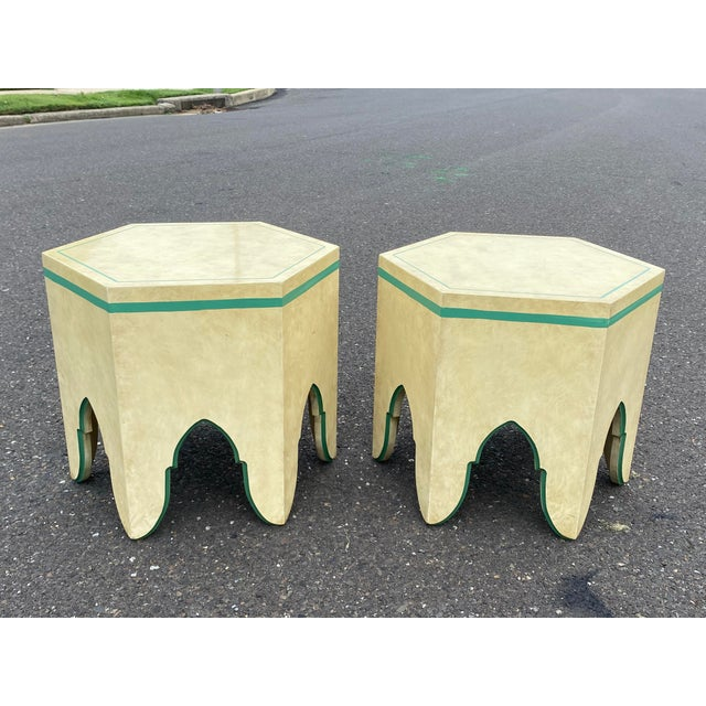 1960s Vintage Moroccan Hexagon Lacquered Side Tables - a Pair For Sale - Image 11 of 11
