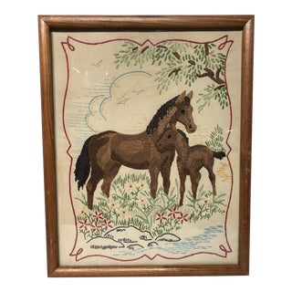 Vintage Horse Embroidery Crewel Art