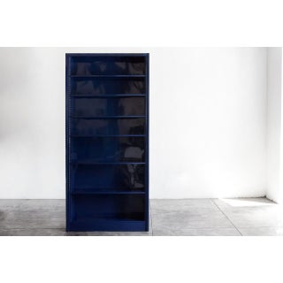 Tall Steel Tanker Bookcase Refinished in Midnight Blue Preview