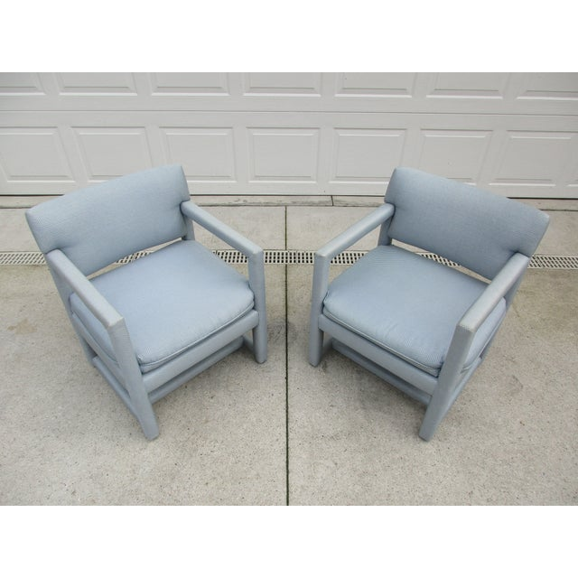 Late 20th Century Parsons Style Arm Chairs -A Pair For Sale - Image 9 of 13
