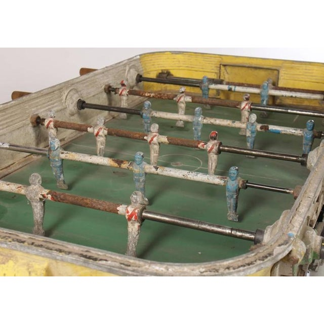 Industrial Yellow Vintage Cast Aluminum Foosball Table For Sale - Image 3 of 4