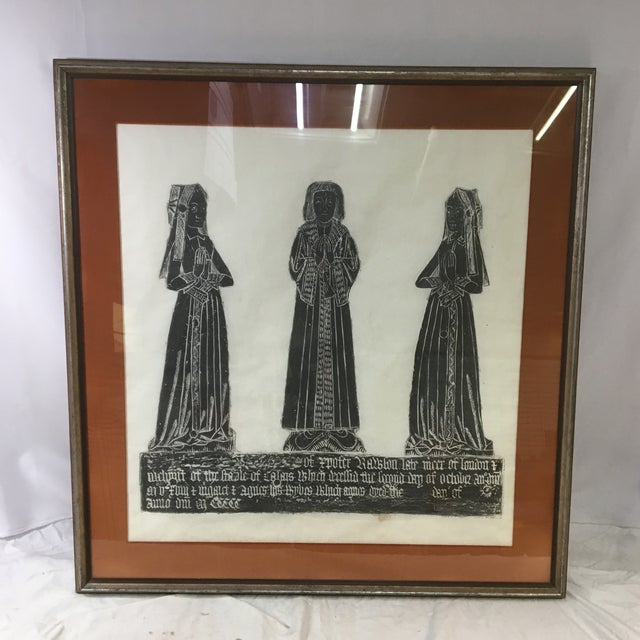 Medieval Brass Rubbing of Tombstone With Old English Inscription, Framed For Sale - Image 9 of 9