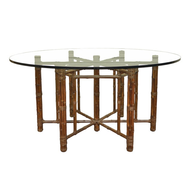 McGuire Round Bamboo Dining Table For Sale