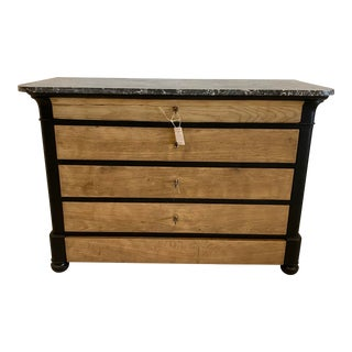 Early 20th Century Louis Philippe Style Bleached and Painted Walnut Chest With Marble Top For Sale
