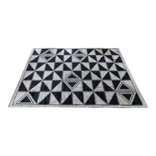 Moroccan Geometric Triangles Wool Rug - 9′ × 12′ For Sale