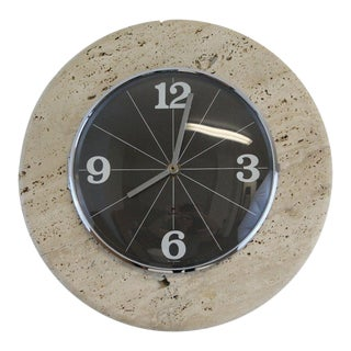1940s Mid Century Modern Raymor Travertine Stone Wall Hanging Clock For Sale