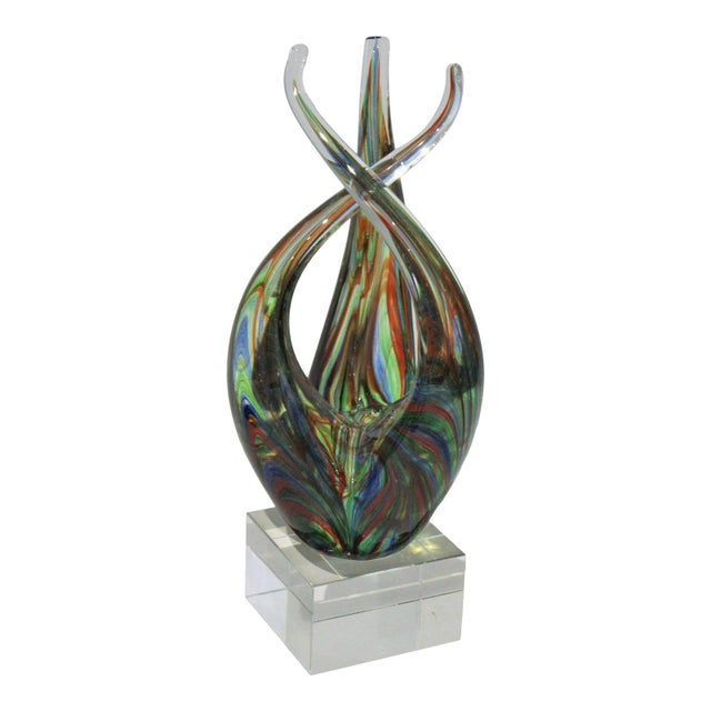 "Vintage Lucite Base ""Flame"" Sculpture Multicolored Glass Murano Style For Sale - Image 12 of 12"