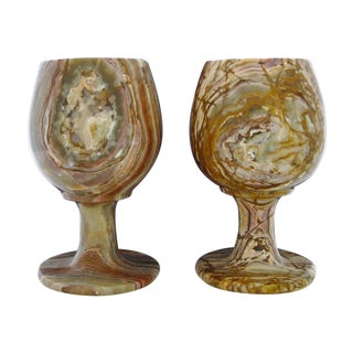 Carved Onyx Goblets - A Pair