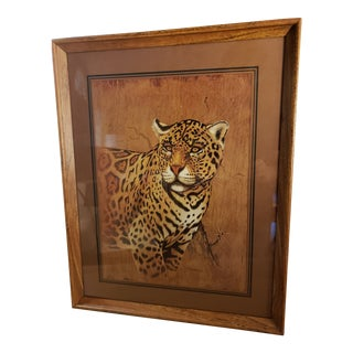 Mid-Century Modern Cheetah Leopard Animal Print in Bamboo Frame For Sale