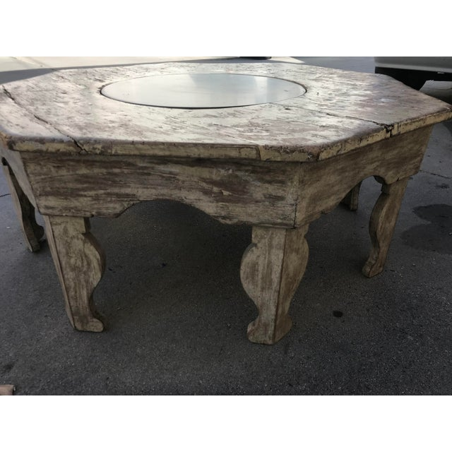 Moroccan Distressed Wood Octagonal Coffee Table For Sale - Image 10 of 13