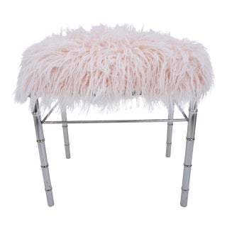 George Koch Faux Bamboo & Pale Pink Faux Fur Vanity Bench For Sale