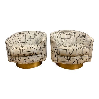 Bernhardt Camino Swivel Chairs in Abstract Fabric - a Pair For Sale
