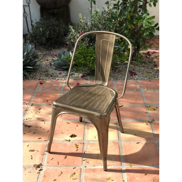 A set of six Tolix-style metal bistro chairs for sale! All in EXCELLENT condition. Originally found in the traditional...