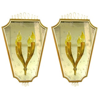 1940s Italian Mirrored Plate Wall Lights - a Pair For Sale