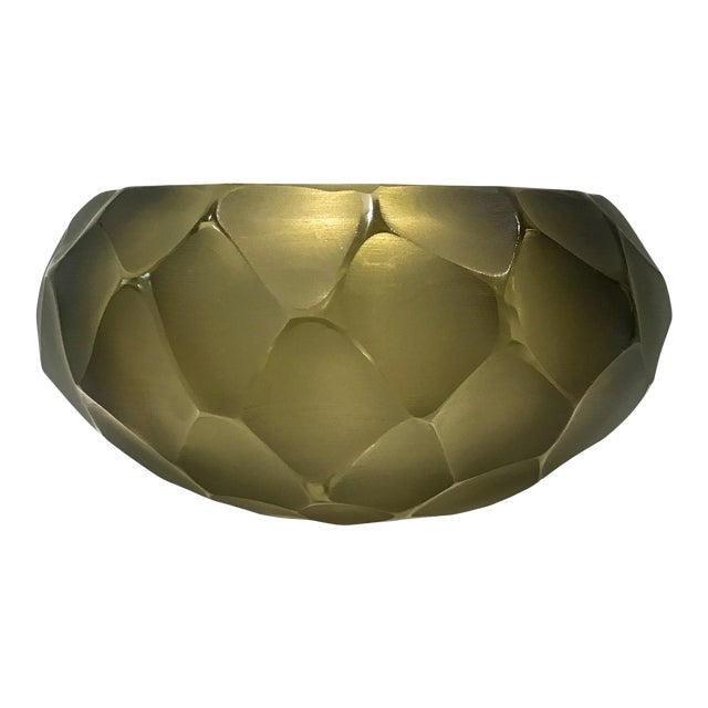 Alberto Dona Chiseled Murano Bowl in Olive For Sale