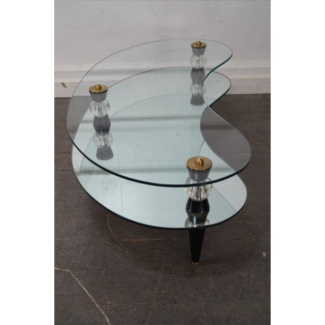 Semon Bache Hollywood Regency Kidney Shaped Mirrored Coffee Table - Image 3 of 10