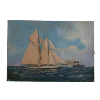 Antique Sailboat Ship Maritine Seascape Painting, Continental Early 20th Century For Sale