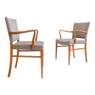 Vintage Pair of Ole Wanscher Upholstered Armchairs, Midcentury, Scandinavian For Sale