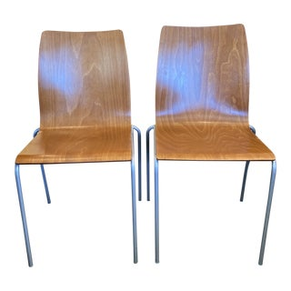 Molded Cherry + Aluminum Chairs- a Pair For Sale