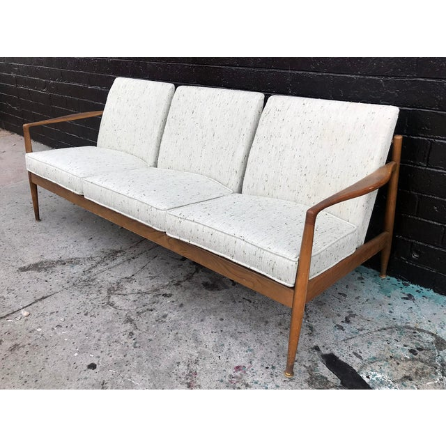 1960's Danish Modern Walnut Framed Sofa For Sale In Las Vegas - Image 6 of 6