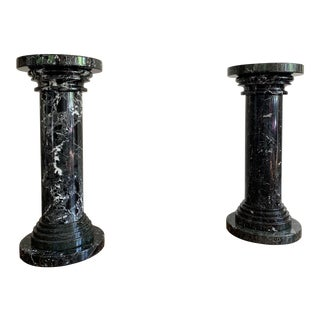 Post Modern Nero Marquina Marble Pedestals - A Pair For Sale
