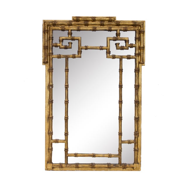 Wood Gilt Faux Bamboo Mirror by Labarge For Sale - Image 7 of 7